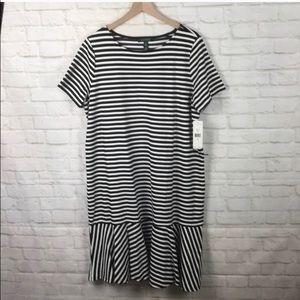Lauren R Lauren Black/White Strip Sheath Dress